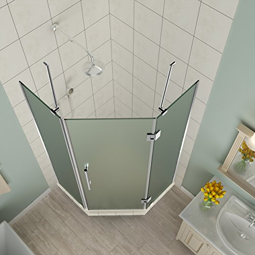 "Aston SEN966F-CH-42-10 Merrick 42"" to 42.5"" x 72"" Frameless Hinged Neo-Angle Shower Enclosure in Frosted Glass, Polished Chrome"