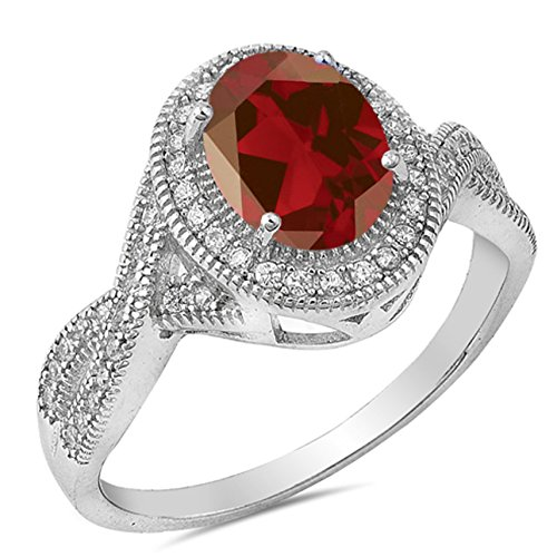 925 Sterling Silver Faceted Natural Genuine Red Garnet Vintage Oval Ring Size - Oval Genuine Garnet Ring
