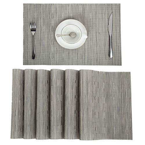 Pauwer PVC Placemats Set of 6 Washable Woven Vinyl Placemat for Kitchen Table Heat Resistant Non-Slip Kitchen Table Place Mats Wipe Clean (6pcs Placemats, Silver Grey) by Pauwer (Image #1)