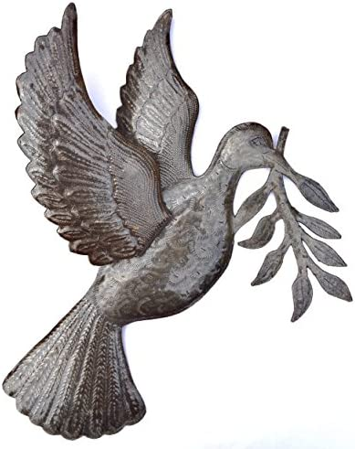 Dove of Peace Recycled Metal Art from Haiti, Symbol of Tranquillity, Carrying an Olive Branch 17 X 17.5 Inches