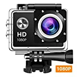 Wewdigi EV5000 Action Camera, 12MP 1080P 2 Inch LCD Screen, Waterproof Sports Cam 140 Degree Wide Angle Lens, 30m Sport Camera DV Camcorder with 10 Accessories Kit (Black) (380p)