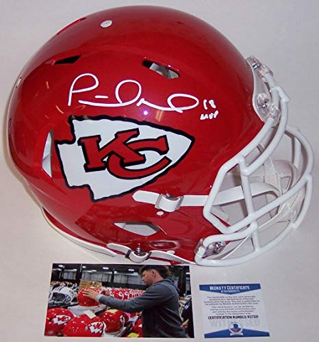 Patrick Mahomes Autographed Hand Signed Riddell Kansas City Chiefs Speed Full Size Authentic Pro Football Helmet - with 18 NFL MVP inscription - BAS Beckett Authentication