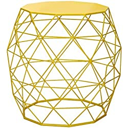 Adeco Home Garden Accents Wire Round Iron Metal Stool Side End Table Plant Stand Chair, Hatched Diamond Pattern, for Indoor Outdoor, Bright Yellow