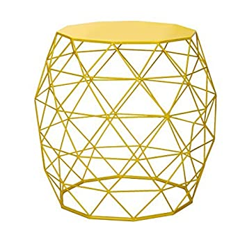 Adeco Home Garden Accents Wire Round Iron Metal Stool Side End Table Plant Stand Chair Hatched Diamond Pattern, Bright Yellow