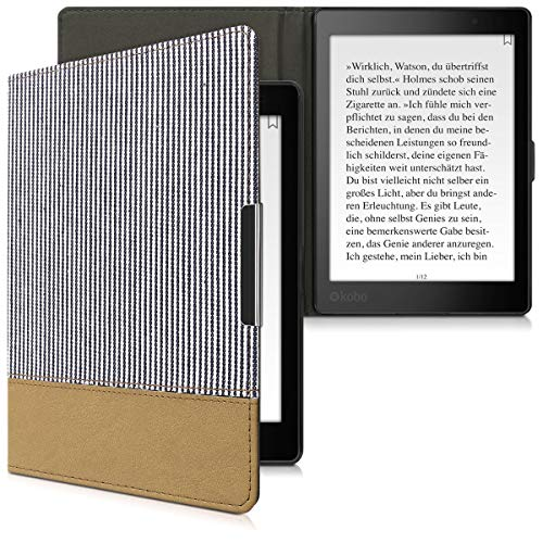 kwmobile Case Compatible with Kobo Aura ONE - PU Leather/Canvas Cover - Stripes Blue/White