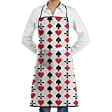 New Poker Cards Red Black Heart.jpg Adjustable Pockets Cooking Unisex Kitchen Aprons Chef Apron Cooking Apron Barbecue Aprons