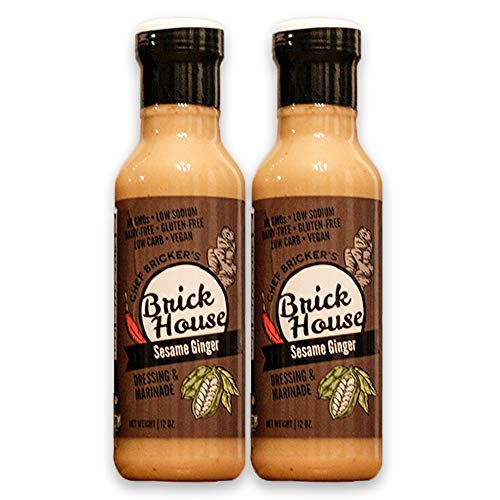 Brick House Vinaigrettes Sesame Ginger Vegan Salad Dressing & Marinade With Sunflower Oil & Organic Coconut Aminos. Gluten Free/Dairy Free/Soy Free, Low Carb/Low Sodium/Low Sugar (12 ounce, two pack)