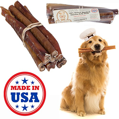 no odor bully sticks for dogs long lasting dog treats made in usa pack of six natural. Black Bedroom Furniture Sets. Home Design Ideas