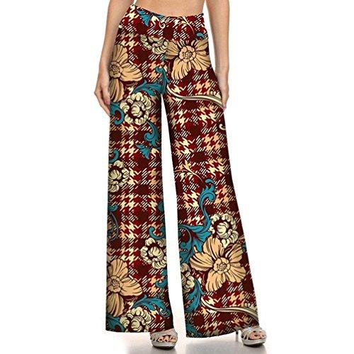 Waist Libero Pantaloni Vintage Pantaloni Abbigliamento Pantaloni Larghi Colour Pantaloni Eleganti Estivi Etnico Ragazza Stile Donna Fiore High Sciolto Stampa Hippie Fashion 5 Chic Tempo Palazzo fq7w8c