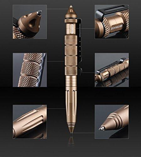 ZENDY Penna a sfera in alluminio TP1A interruttori di vetro auto-protezione penna multifunzione strumento Nero