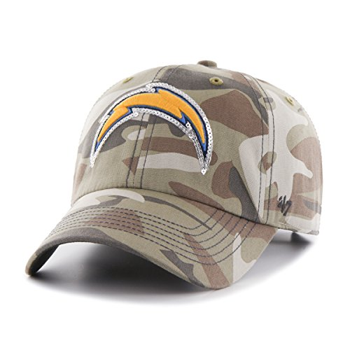Womens San Diego Chargers ('47 NFL San Diego Chargers Women's Sparkle Camo Clean Up Hat, Women's, Faded Camo)