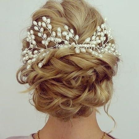 Luxury Vintage Bride Hair Accessories Handmade Pearl Wedding Jewelry Comb