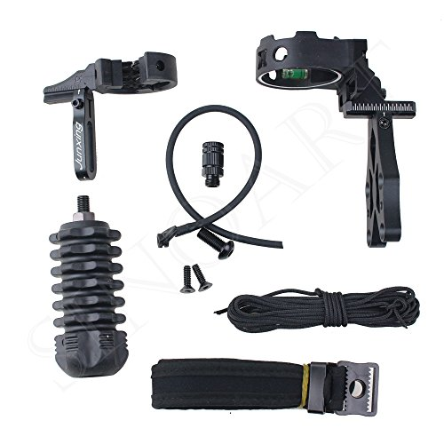 SinoArt Archery Acccessories Combo Set Archery Upgrade , 5 Pin Bow Sight with Level and Light, Arrow Rest, Stabilizer, Sling, Peep for Compound Bow and Recurve Bow (Black) ()