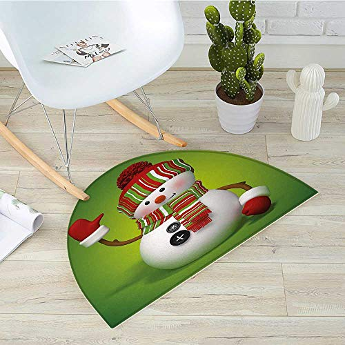 Snowman Half Round Door mats 3D Style Fun Character Greeting Traditional Colors Seasonal Celebration Theme Bathroom Mat H 43.3