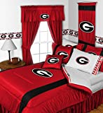 Georgia Bulldogs NCAA 8 Pc FULL Size Comforter Set and One Matching Window Valance/Drape Set [84 Inch Drapes] (Comforter, 1 Flat Sheet, 1 Fitted Sheet, 2 Pillow Cases, 2 Shams, 1 Bedskirt, 1 Matching Window Valance/Drape Set - 84'' Length Drapes) SAVE BIG