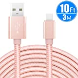 USB Type C Cable 10ft/3m, CC-Show Nylon Braided Fast Charger USB 2.0 High Speed Data Sync Cord for Samsung Galaxy Note 8/S8+,Pixel,Nexus,Nintendo Switch,MacBook, and More with Type C Port (Rose Gold)