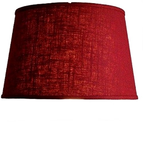 Upgradelights Red Linen Fabric Floor or Table Lamp Drum Lampshade Retro Replacement Shade 51eSnBBIppL