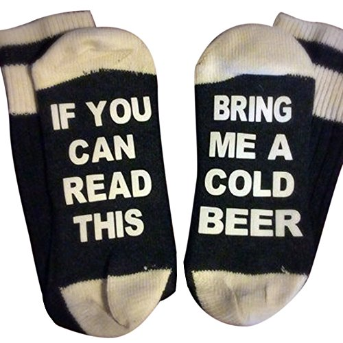 Doinshop Unisex Creative Fashion Socks IF YOU CAN READ THIS Print Knitting Socks (Bring Me A Cold Beer)