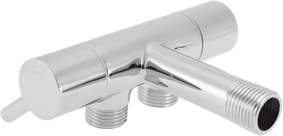 verstellbarer Durchfluss Doppel-Auslaufventil Ersatzteile f/ür Badezimmer WC Waschbecken Wasserh/ähne Adapter Wasserhahn Eckventil Verchromte Wandmontage Messing-Duschkopf