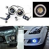 "AUNAZZ/LED Fog Light High Power 3"" Projector Universal LED Fog Light DRL White COB Halo Angel Eye Rings"