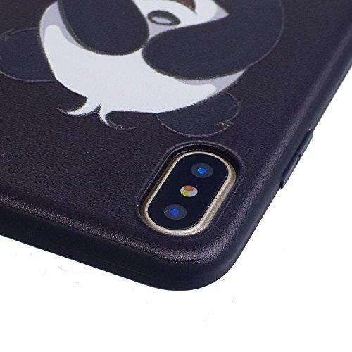 iPhone X Hülle Schüchterner Panda Premium Handy Tasche Schutz Schale Für Apple iPhone X / iPhone 10 (2017) 5.8 Zoll + Zwei Geschenk