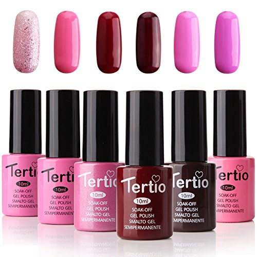Tertio Soak Off Gel Nail Polish Set, UV LED Nail kit Pink Varnish, Pack of 6 Colors 10ml, Valentine's Day Gift 2018 Series