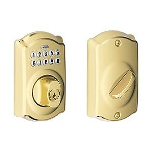 Schlage BE365 CAM 505 Camelot Keypad Deadbolt, Bright Brass