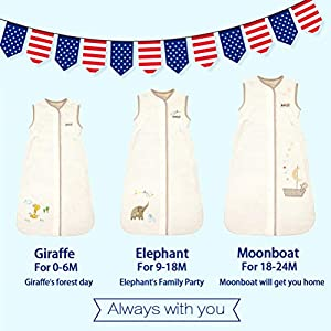 Unisex Baby Sleeping Bag - Super Soft Baby Wearable Blanket - Creamy Elephant Medium