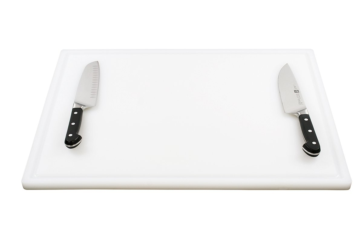 Commercial Plastic Carving Board with Groove, NSF Certified, HDPE Poly (24 x 18 x 0.75 Inch, White) by Thirteen Chefs (Image #4)