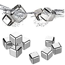 Set of 8 Stainless Steel Whiskey Stones,Bigear Reusable Ice Cubes Sipping Rocks for Whisky, Beer, Beverage,and Wine - (Rubber Tip Tongs, Ice Tray with Lid - FDA Approved & BPA Free)