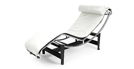 amazoncom kardiel le corbusier style lc4 chaise lounge cream white aniline leather kitchen u0026 dining