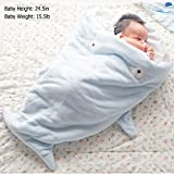 Baby Sleeping Bag Sleep Sack - GreForest Cartoon Shark Baby Wrap Anti-kicking Swaddle Blanket Soft, Warm, Easy Zipper Open For Bath, Outdoor Stroller, Air-conditioned Room, Autumn, Winter (Blue)
