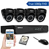 SANSCO Home Security Camera System with 1080P 4-Channel DVR and 4 Dome Cameras (All HD 1080p 2MP), 1TB Internal Hard Drive Surveillance Cameras Kit