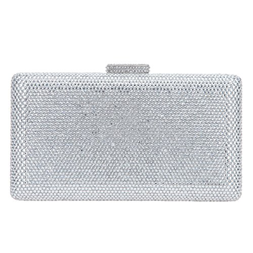 Clutches Purses Evening Bonjanvye Party and Crystal Bags Silver Women Clutch for qqRztO