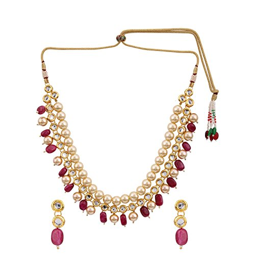 (Efulgenz Indian Traditional 14 K Gold Plated Bollywood Faux Kundan Pearl Ruby Beaded Bridal Choker Necklace Earrings Wedding Jewelry Set)