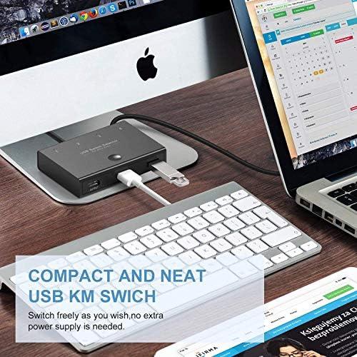 DIGITNOW Selector de conmutadores USB, 4 puertos USB periféricos para 4 ordenadores, compartiendo 3 dispositivos USB, teclado, ratón, escáner, impresora, con 4 cables USB 7