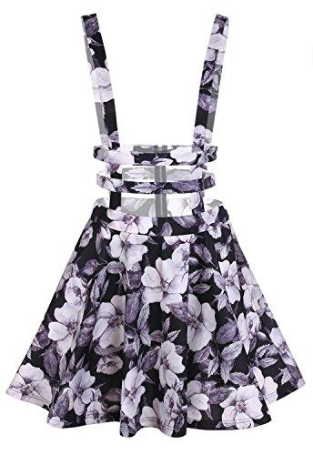 Womens Preppy Pleated Short Braces Skirt Dress (Black) - 3