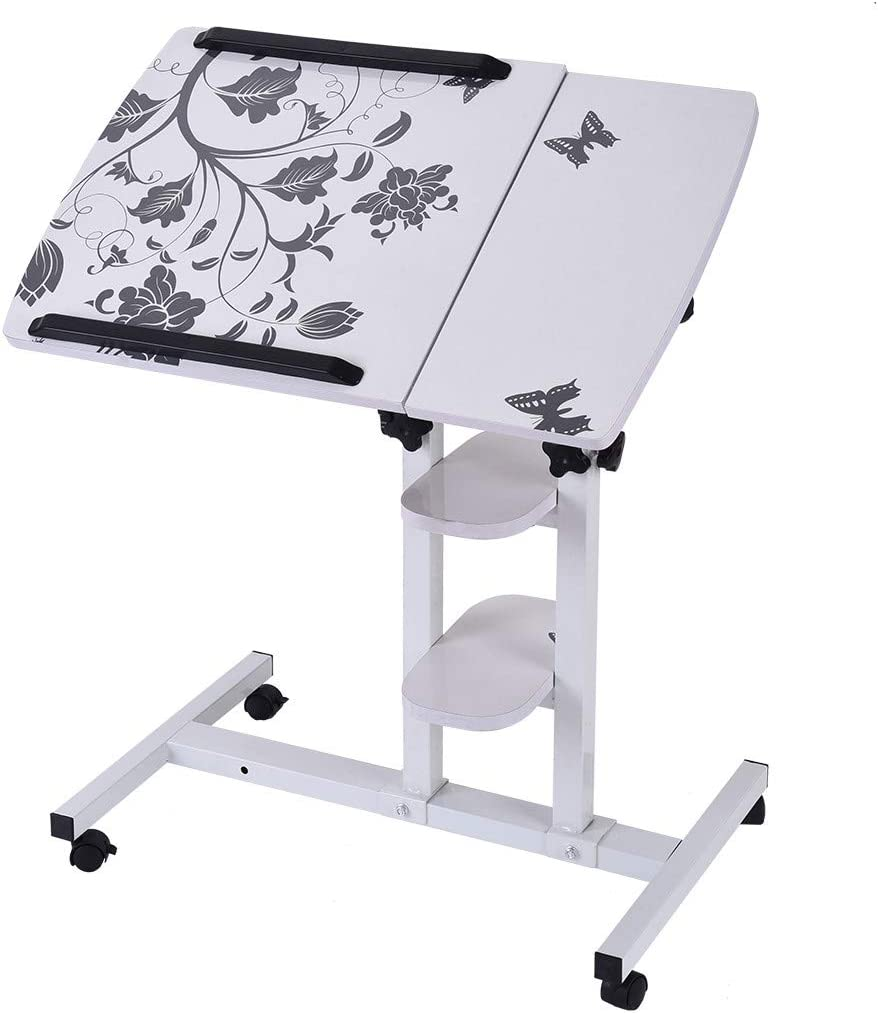Ellymi Laptop Rolling Cart Table Height Adjustable Mobile Laptop Stand Desk with Wheels for Hospital and Home Use