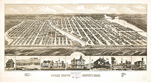Ocean Grove, New Jersey - Panoramic Map (16x24 Fine Art Giclee Gallery Print, Home Wall Decor Artwork - Panoramic Nj Map
