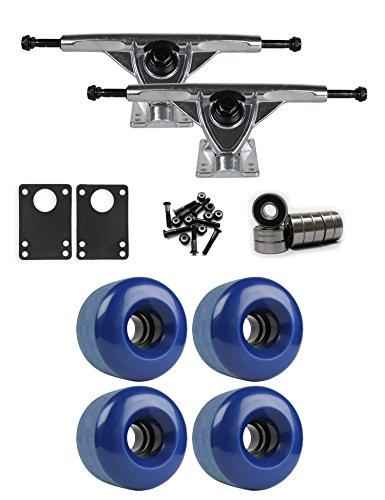 TGM Skateboards RKP Raw Longboard Trucks Wheels Package 70mm x 46mm 83A 293C Blue