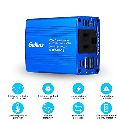 ˜�free Shipping★gutens 150w Car Power Inverter Dc 12v To Ac