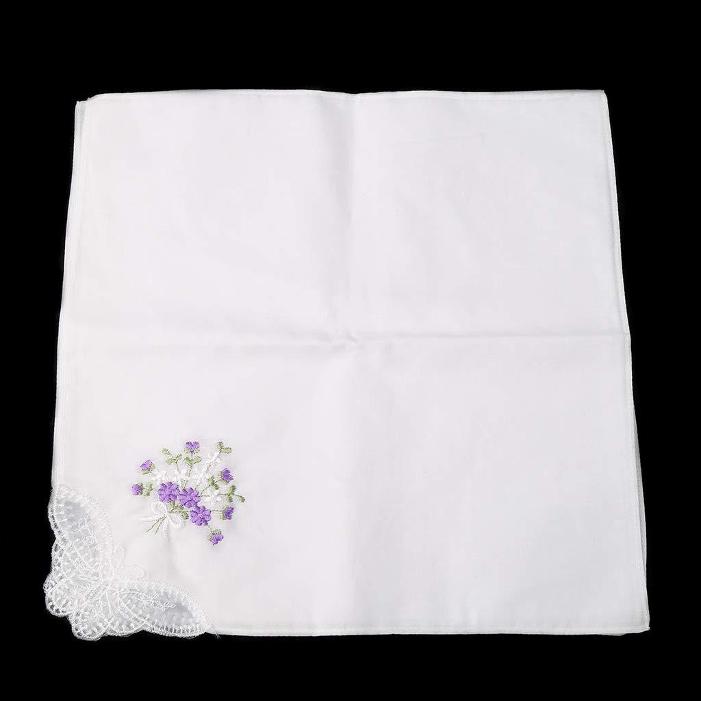 FATTERYU 6 Pcs Vintage Cotton Ladies Embroidered Lace Handkerchief Women Floral Hanky