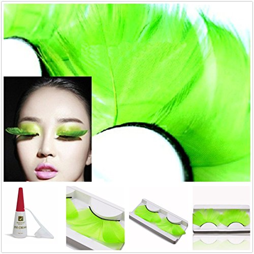Beauty II Girl Fancy Dress Dance Party Makeup Feather False Eyelashes Eye Lashes Thick Extra Long Cosplay Christmas Halloween Costume Queen Holiday Fine Fun Fake Eyelashe with Glue (Green (80s Costume Makeup)