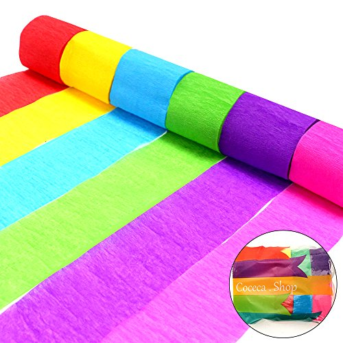 Paper Streamers - Coceca 24 Rolls Crepe Paper Streamers, 6 Colors, for Birthday Party, Class Party,Family Gathering ,Graduation Ceremony Decorations