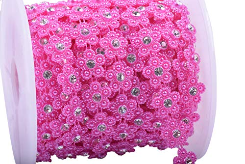 KAOYOO 10 Yards New Flower Shaped with Rhinestone Chain Sew On Trims Wedding Dress Beaded ()
