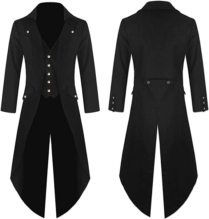 Auwer Mens Gothic Tailcoat Jacket Steampunk Vintage Tailcoat Tuxedo Halloween Costume Long Coat