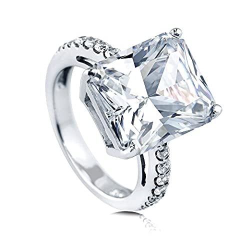BERRICLE Rhodium Plated Sterling Silver Cubic Zirconia CZ Solitaire Engagement Ring Size 6 - Sterling Silver Engagement Plated Ring