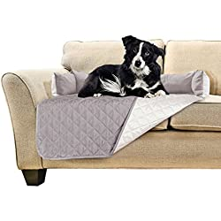 Furhaven Pet Furniture Cover | Sofa Buddy Two-Tone Water-Resistant Reversible Furniture Cover Protector Pet Bed for Dogs & Cats, Gray/Mist, Medium