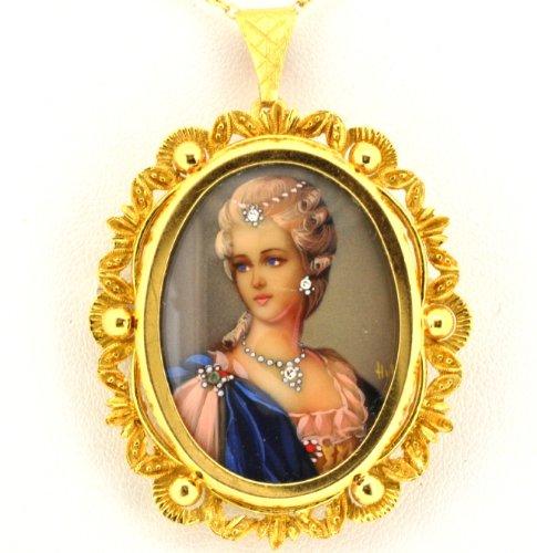 el Pendant/Pin (Gold Enamel Portrait)