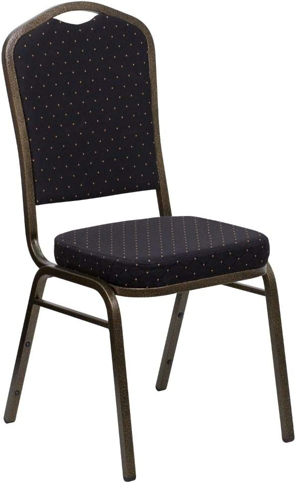 Flash Furniture HERCULES Series Crown Back Stacking Banquet Chair in Black Patterned Fabric - Gold Vein Frame